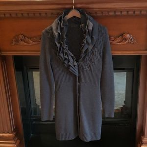 ELIE TAHARI Button Down Sweater in Heather Gray